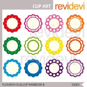 Flourish Scallop Rainbow Label Clip art - Set of 12 - Clipart for teacher seller