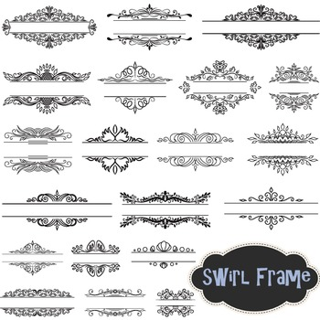 Flourish Swirls Frames Clipart Borders Frames Headlines Sw