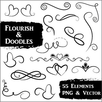 Flourish and Doodles Clip Art - 55 PNG and Vector Images