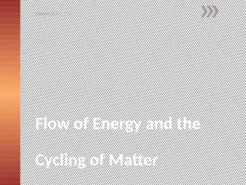 Flow and Cycling of Energy  Power Point