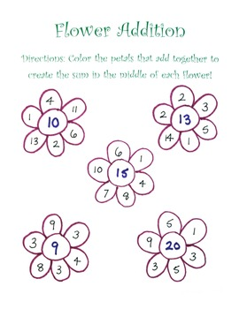 Flower Addition for Elementary Students!