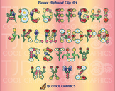 Flower Alphabet Clip Art Set from Clever Vectors