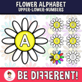 Flower Alphabet Clipart Letters ENG.-SPAN. (Upper-Lower-Numb.)