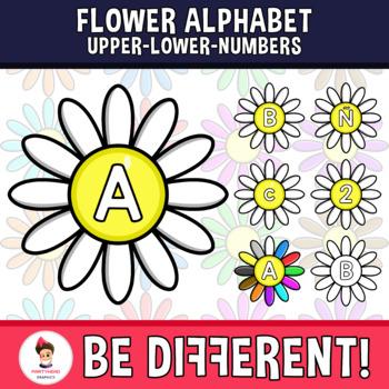 Flower Alphabet Clipart Letters ENG.-SPAN. (Upper-Lower-Numb.)
