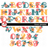 Flower Alphabet Letters and Numbers Clipart by Poppydreamz