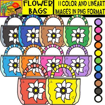 Flower Bags - Cliparts Set - 11 Items