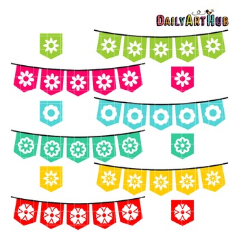 Flower Banners Clip Art - Great for Art Class Projects!