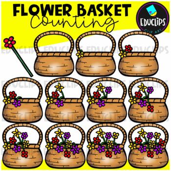Flower Basket Counting Clip Art Bundle  {Educlips Clipart}