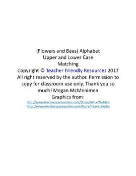 Flower & Bees Alphabet Matching Upper and Lower Case