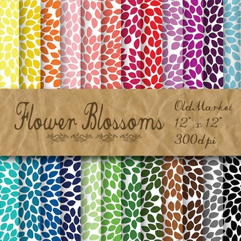 Flower Blossoms Digital Paper - 24 Different Papers - 12 x 12
