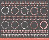Flower Border Clip Art, 20 Rose Quartz, Peach Echo and White Floral Borders