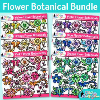 Flower Clip Art Bundle | Glitter Botanicals & Blossoms for Spring Activities