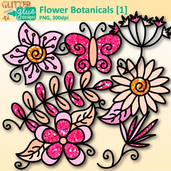 Pink Flower Clip Art {Glitter Botanicals & Blossoms for Spring Activities}