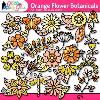 Orange Flower Clip Art {Glitter Botanicals & Blossoms for Spring Activities}
