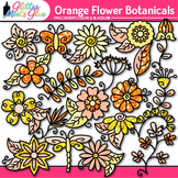 Orange Flower Clip Art | Glitter Botanicals & Blossoms for Spring Activities