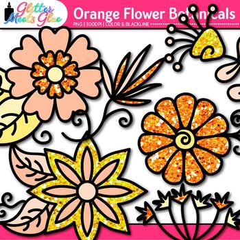 Orange Flower Clip Art   Glitter Botanicals & Blossoms for Spring Activities