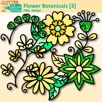 Yellow Flower Clip Art {Glitter Botanicals & Blossoms for Spring Activities}