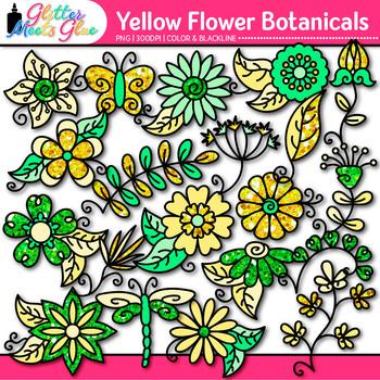 Yellow Flower Clip Art {Glitter Botanicals & Blossoms for Spring Activities}