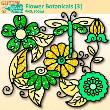 Yellow Flower Clip Art | Glitter Botanicals & Blossoms for Spring Activities