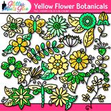 Yellow Flower Clip Art | Glitter Botanicals & Blossoms for Spring Activities