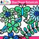 Green Flower Clip Art {Glitter Botanicals & Blossoms for Spring Activities}