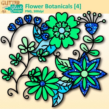 Green Flower Clip Art | Glitter Botanicals & Blossoms for Spring Activities