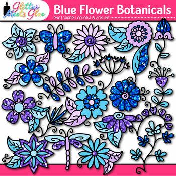 Blue Flower Clip Art {Glitter Botanicals & Blossoms for Spring Activities}