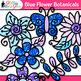 Blue Flower Clip Art {Glitter Botanicals & Blossoms for Sp