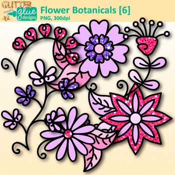 Violet Flower Clip Art {Glitter Botanicals & Blossoms for Spring Activities}