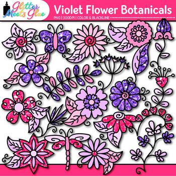 Violet Flower Clip Art | Glitter Botanicals & Blossoms for Spring Activities