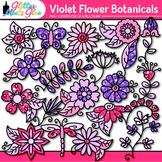 Violet Flower Clip Art {Glitter Botanicals & Blossoms for