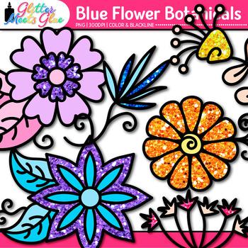 Rainbow Flower Clip Art {Glitter Botanicals & Blossoms for Spring Activities}