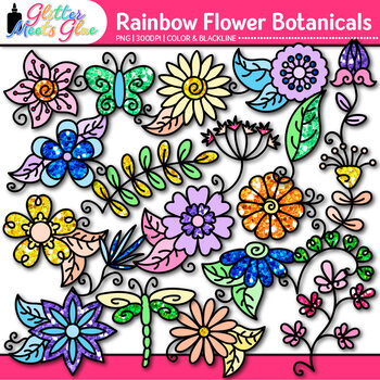 Rainbow Flower Clip Art: Spring & Summer Graphics {Glitter Meets Glue}