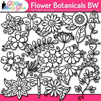 Flower Clip Art | Glitter Botanicals & Blossoms for Spring Activities| B&W
