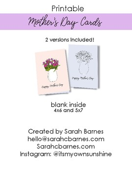 Flower Bouquet Printable Mother's Day Card, Color your own, Happy Mother's day