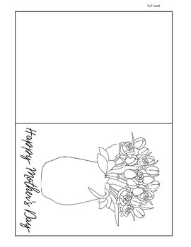 photograph about Printable Mothers Day Cards to Color called Flower Bouquet Printable Moms Working day Card, Shade your individual, Joyful Moms working day