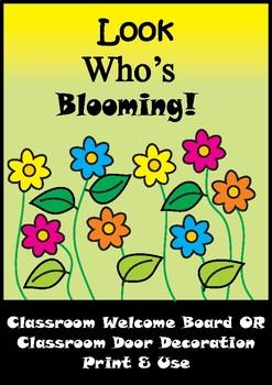 Flower Bulletin Board Set / Classroom Welcome Door Decoration , Printables