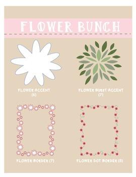 Digital Papers & Borders: Flower Bunch