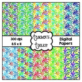 Flower Burst Digital Background Papers {8.5 x 11} Clip Art CU OK