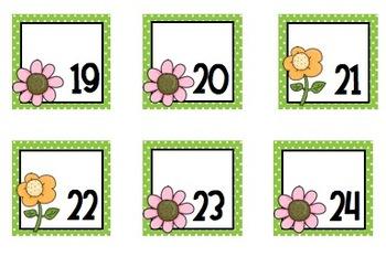 Flower Calendar Pieces- Green