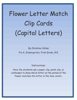Flower Capital Letter Match Clip Cards