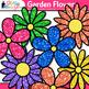 Garden Flower Clip Art {Rainbow Glitter Blossoms for Spring Activities}