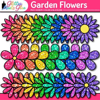 Garden Flower Clip Art | Rainbow Glitter Blossoms for Spring Activities
