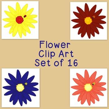 Flower Clip Art Bundle Daisy Mum PNG JPG Blackline Commercial Personal