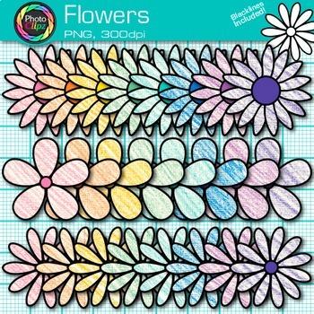 Spring Flower Clip Art {Rainbow Florals for Classroom Decor & Resources}