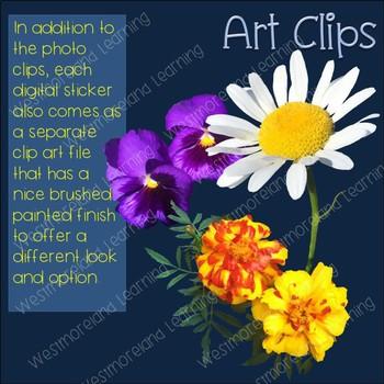 Flower Clip Art Photo & Artistic Digital Stickers Just Flowers Series
