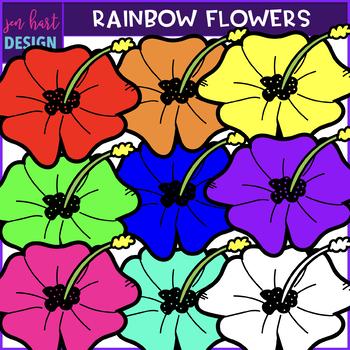 Flower Clip Art -Rainbow Flowers {jen hart Clip Art}