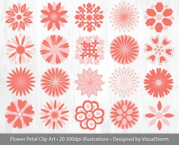 Flower Clip Art - Pink and Coral, Rose Quartz and Peach Echo Flower Petals