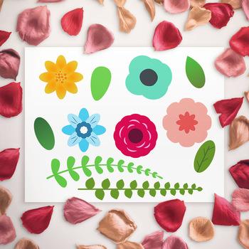 Flower Clipart, Floral Wedding Clipart, Fern Clipart, Rose Clipart, Boho Clipart