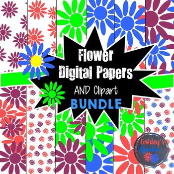 Flower Clipart and Digital Paper BUNDLE
